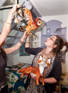 Artist ~Elizabeth Jardine with some of her papier mache wood land creatures that we are becoming rather fond of. www.elizabethjardine.co.uk