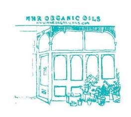 One of Georgia Novis Screen Prints made especially for NHR Organic oils with our Turquoise shop front.